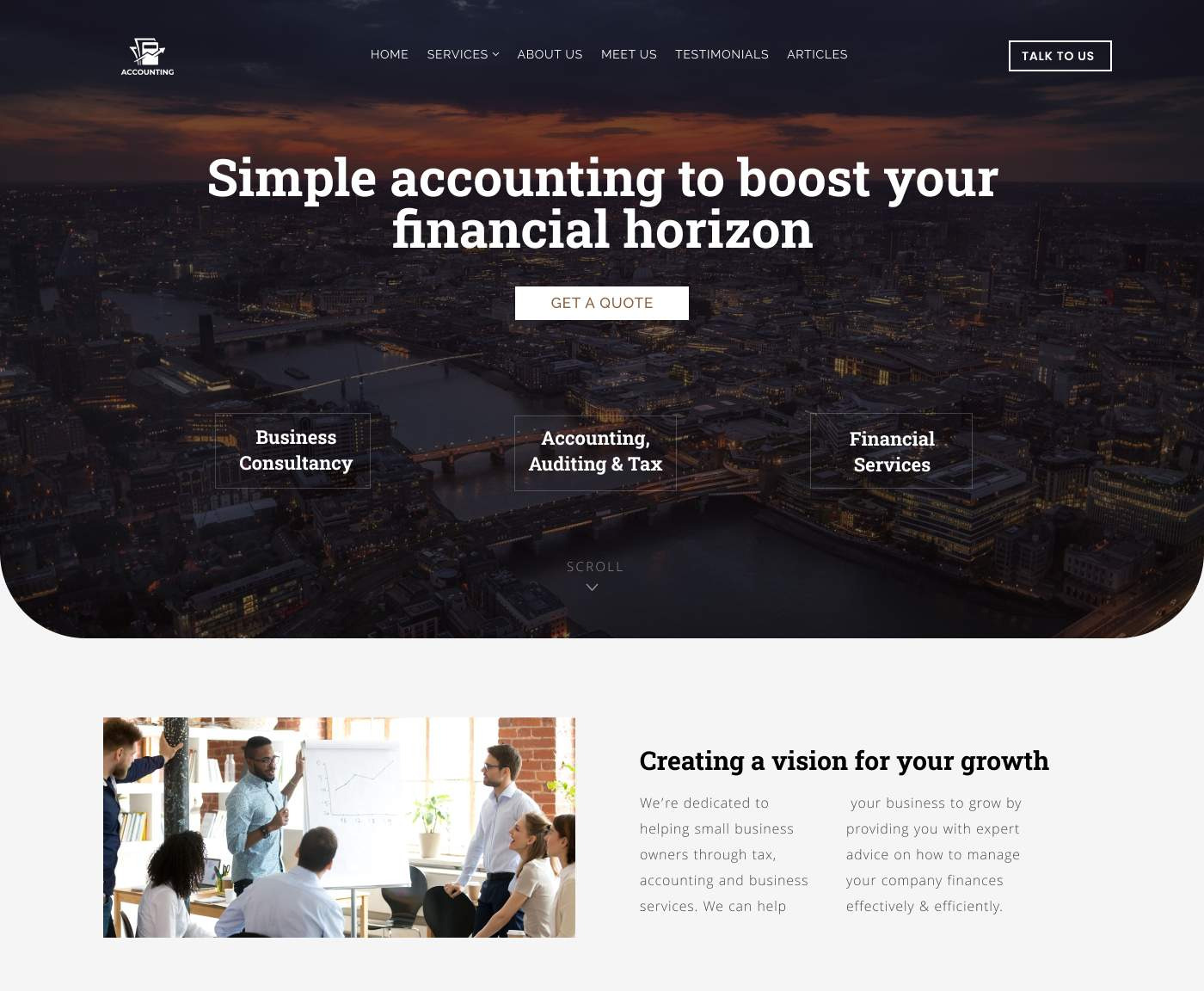 Fresh and up to date accountant practice website design