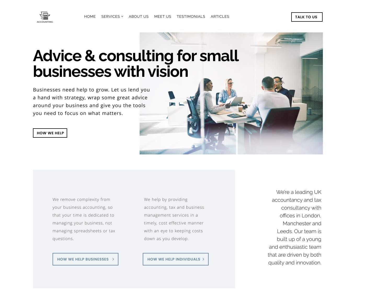 Modern fresh accountant and business consultancy website design