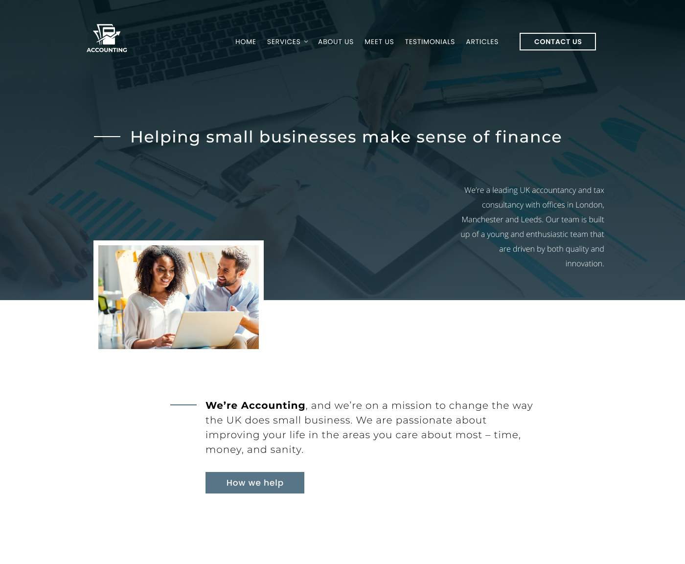 Modern minimalist accountant website design