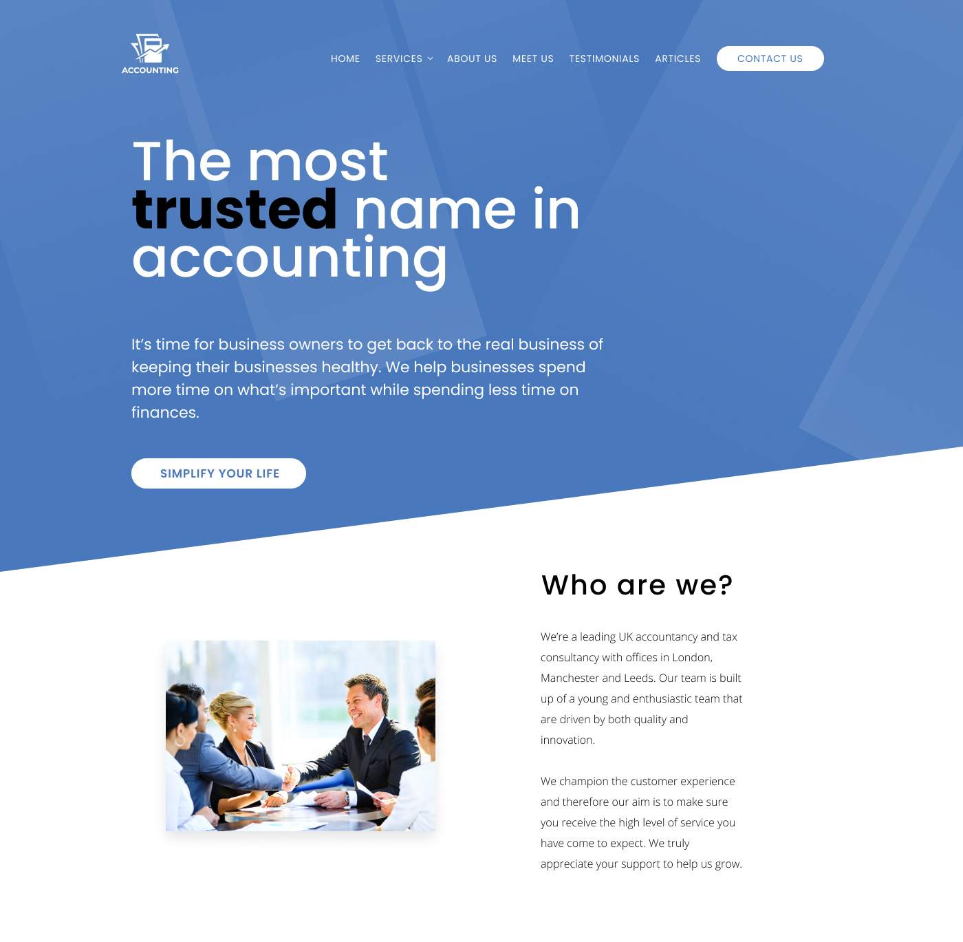 Traditional accountant website design with a few twists to bring it up to date