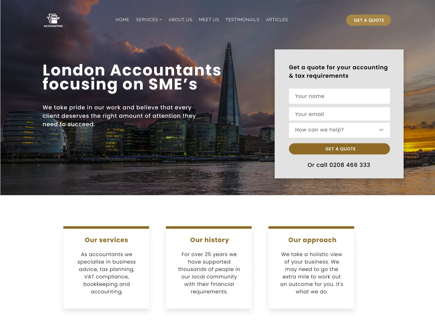 Accountant website for leadgen